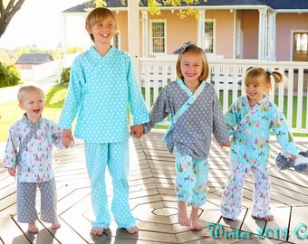 Flannel Kimono Holiday Lounge wear Boys Girls Kids Baby Toddler