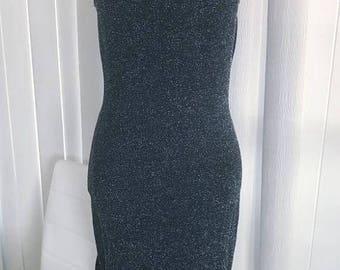 Memorial Day Sale 25% OFF Vintage Black and Silver Lurex Wiggle Dress -- Size S-M