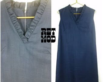 Vintage 60s Classy Navy Blue Linen Retro Shift Dress with Ruffles by M.H. Fine