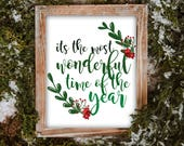Printable Its the Most Wonderful Time of the Year pdf file instant download Christmas Print