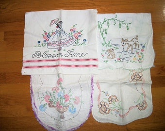 4pc Vintage Antique Linens Scrap Fabric  Cutters  Destash  Embroidery table runners + towel Cottage Chic on Sale