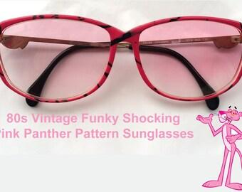 80s Vintage German Mondi Funky Shocking Pink Panther Pattern Sunglasses