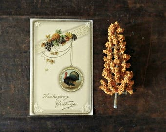 Vintage Thanksgiving Card, Holiday Postcard, Antique Greeting Card