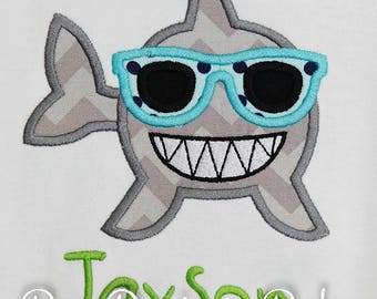 Boys Shark Shirt, Boys Summer Shirt, Kids Shark, Boys Beach Shirt, Shark Shirt, Cool Shark, Shark with Sunglasses, Custom, Personalized