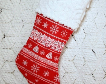 Festive Red and White Scandi Style Snowflake Christmas Stocking with Hofmann Vintage Chenille Cuff