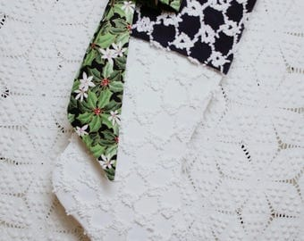 Chenille Stocking | White and Black Vintage Chenille Heirloom Christmas Stocking with Beautiful Holly Bow