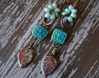 Green and Red Earrings - Rustic Earthy Earrings - Boho Earrings - Dangle Earrings - Turquoise - Bead Soup Jewelry