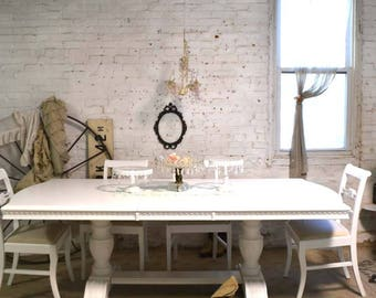 dining table painted cottage chic shabby french dining table with two leaves tbl245 - French Dining Table