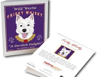 """Westie Art """"Wild Westie Frisky Whisky"""" 6 Small Greeting Cards by Krista Brooks"""