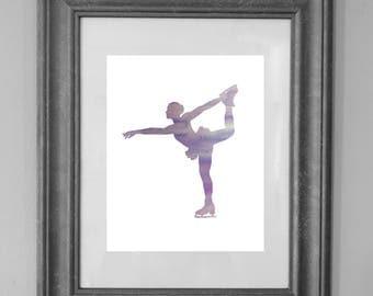 Figure Skater Print / Purple Figure Skater / Girl Bedroom / Princess / Home Decor / Girl Nursery / Kid Art / INSTANT DOWNLOAD