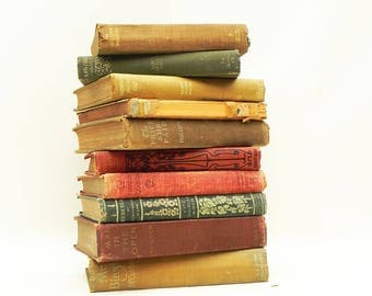 Lot of 10 Vintage Antique Old Books Bookshelf Library Decor Props Craft Supply Green Red