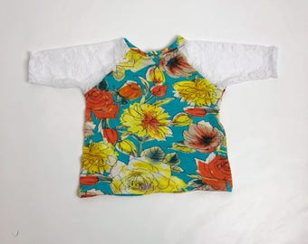 Floral and White Lace Raglan