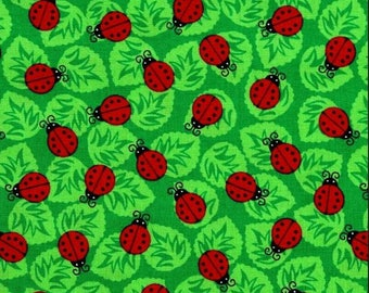 Blank Textiles - Backyard Buzz - Ladybugs - Green - Fabric by the Yard 8251-66
