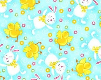 Quilting Treasures - A Joyful Easter - Bunnies & Chicks - Blue - Fabric by the Yard 23717-B