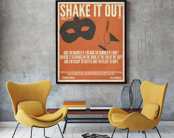 Shake It Out / Florence and The Machines / Lyric / DIGITAL Minimalist Typography Poster / Printable