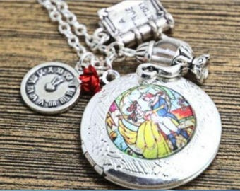 Beauty and the Beast Charm Locket Necklace