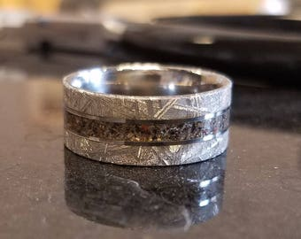 Dinosaur Bone With Gibeon Meteorite Ring Custom Made Wedding Band