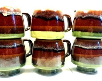 Rustic 70s Coffee Cups Set of Six