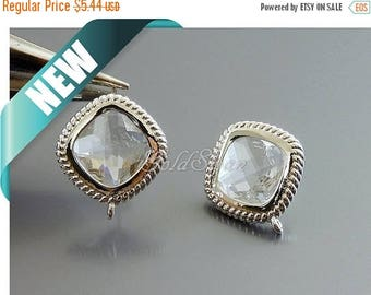 10% SALE 2 pcs clear colorless glass stud earrings, diamond shaped earrings, wedding / bridesmaids earrings 5158R-CL