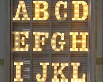 Promotion.Plastic A-L Letters alphabet warm white LED lamp,Desk lamp,Wedding sign,theme sign,hanging wall deco. New item sales 7.9USD