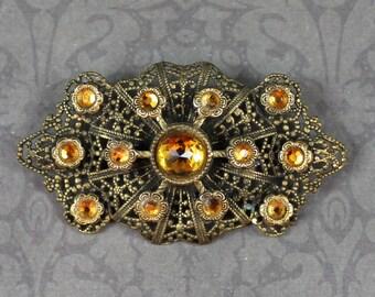 Vintage Czech or German Yellow Citrine Rhinestone Gold Filigree Brooch