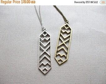 FLASH SALE Aztec BRONZE Pendant Necklace Long Layering Necklace Simple Boho Style Long Necklace Modern Tribal Necklace Antique Bronze Antiqu