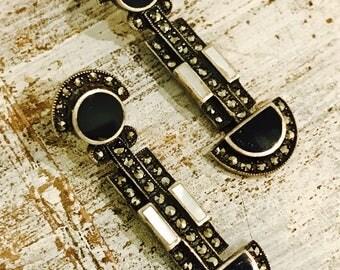 Beautiful Geometric Sterling Silver Black Onyx MOP Marcasite Art Deco Vintage Earrings