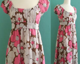 60's floral full sweep maxi dress ~ small medium