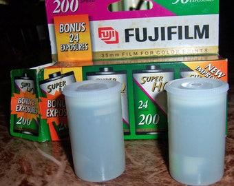 35mm FUJIFILM Color Negative Film Rolls, Unexposed, 2 Rolls 200/24 Exposures, Expired 02/2000, Original Box