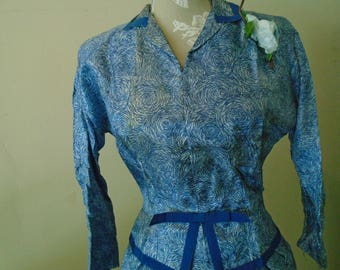 Leslie Fay Original Silk Dress  Fully Lined Sold By Hahne & Company Size 14 Blue Print