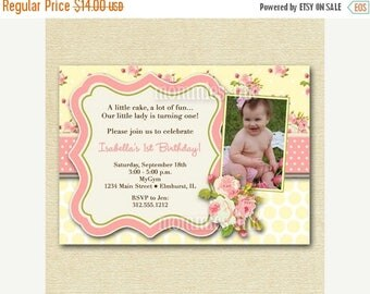 20% OFF SALE Shabby Style Pink Roses with Yellow Polka Dots Photo Birthday Party Invitation  Invite - PRINTABLE Invitation Design