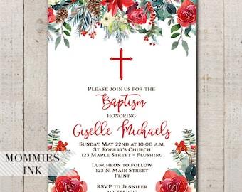 Holiday Baptism Invitation, Christmas Baptism Invitation, Winter Baptism, Floral Baptism Invitation, Poinsettia, Gender Neutral Baptism
