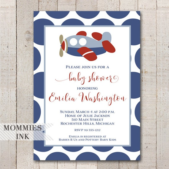 Vintage Airplane Birthday Party Airplane Baby Shower: Airplane Invitation, Airplane Baby Shower Invitation