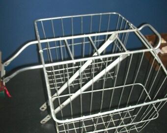 Vintage Wire Rear Wheel Bicycle Double Pocket Basket