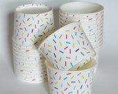 1 Set of SPRINKLES RAINBOW JIMMIES Party Cups Snack Cups Ice Cream Cups Dessert Bowls - Baby Shower, Summer Birthday, Wedding, Unicorn Party