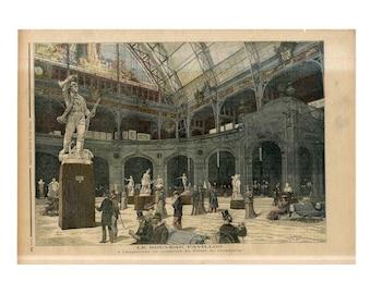 C. 1892 - SCULPTURE EXHIBITION PRINT - original antique print - Palais de l'Industrie - Paris World Fair - Palace of Industry print