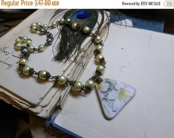 SALE The Empress's Tea Room. Vintage China Pottery pendant & glass pearl Boho Romantic Victorian ooak  handmade Necklace