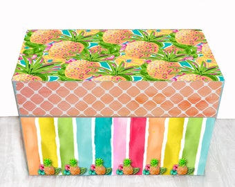 "Sale Pineapple Recipe Box Wooden  Personalized Watercolor Custom Designed for 3"" x 5"" recipe cards"