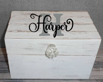 Farmhouse Personalized Recipe Box Shabby Chic Cottage Style with Shiplap wood lid