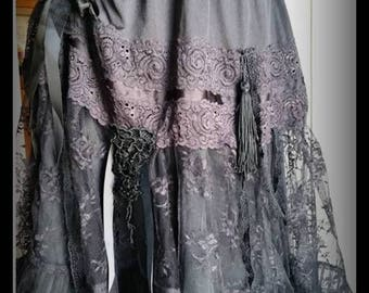 Gypsy Gothic OOAK Hand Made Lacy Skirt with roses and laces Size S-M