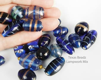 Blue Bead Mix Lampwork Beads Assortment of Large Glass Tube Beads With Copper Swirl