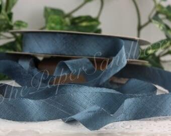 """Poussiéreux dupion de soie ruban bleu, 3/4"""" de large par l'yard, ruban de soie bleu, les mariages, Bouquets, Party Supplies, emballage cadeau, Boutonierres"""