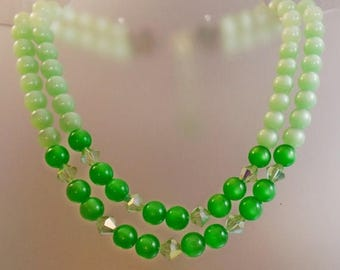 SALE Vintage Green Moonglow Austrian Crystal Necklace.  Mint Green and Kelly Green Moonglow Beads with Austrian Crystals
