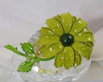 SALE Vintage Large Green Flower Brooch. Olive Green Enamel Flower Power Pin.
