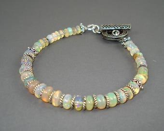 Opal Bracelet, Clear Base Blue Green Fire Opals, Ethiopian Fire Opals and Sterling Silver Bracelet, Fire Opal Jewelry