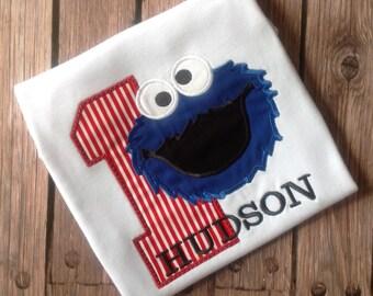 Boys Cookie Monster Birthday Shirt,Sesame Street Birthday Shirt, Cookie Monster Birthday Shirt,First Birthday Shirt,Boys 2nd Birthday