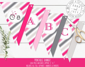 Pink and Grey Tricycle Banner, Girl Birthday Banner, Pink Vintage Tricycle, Ready-to-Print {Letters, Numbers & Dividers Included}