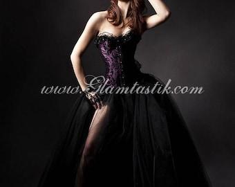 Custom Size plum and black burlesque tulle prom dress