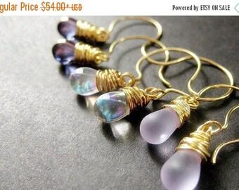 BACK to SCHOOL SALE Teardrop Earrings Set of Three, Wire Wrapped Earrings, Gold. Lavender Collection. Handmade Earrings.