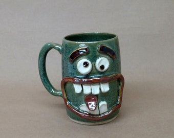Slightly Crazy Family Face Mug. Big Man's Beer Mug 20 Oz Huge Pottery Coffee Cup Awkward Get Togethers. Large Ceramic Stein Frosty Green.